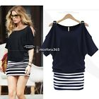 Women Short Sleeve Loose Skirt Dress Mini Striped Slim Stitching Cotton Dress U8