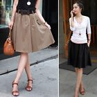 Vintage High Waisted Skater Pleated A-line Short Elasticized Soft Skirt 2 Colors
