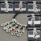 Crystal Rhinestone Dangle Silver Seahorse Charm Pendant Bead For Necklace Making