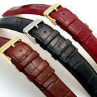 Luxurious Padded Croc Grain Leather Watch Strap Square End 20mm