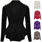 LADIES WOMENS PEPLUM FRILL STUD BLAZER JACKET PLUS SIZE 16 18 20 22 24