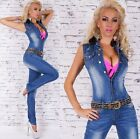 Sexy Sleeveless Long Demin Jeans Jumpsuit Overall + Belt - S / M / L / XL