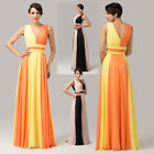 Luxury Long Chiffon Wedding Bridesmaid Party Cocktail Evening Dress Gown Prom cv