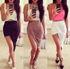 Asymmetrical High Low Wrapped Elastic Waist Draped Cut out Office Lady's Skirt