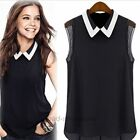 Lady's Loose Casual Chiffon Sleeveless Vest Shirt Tops Collar Blouse