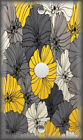 Metal Light Switch Plate Cover - Yellow And Grey Flowers Vintage Design Decor