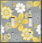 Switch Plates And Outlets - Yellow And Grey Fun Floral - Modern Home Decor