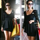 Women Elegance Long Sleeve Lace Top Slim Skirt Cocktail V Neck Mini Dress DBUS