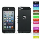 Black Hard & Silicone Hybrid Rugged Impact Case Cover for iPod Touch 5 5th GEN