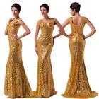 Noble Lady Sequins Mermaid Sleeveless Celeb Evening Deep V Neck Long Maxi Dress