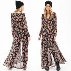 Womens Long Sleeve Button Placket Chiffon Floral Long Maxi Beach Shirt Dress