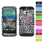 For HTC One M8 Stars On Zebra Design Hybrid Rugged Impact Armor Phone Case Cover