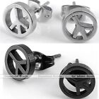 Pair Stainless Steel Peace Symbol Men's Womens Ear Studs Earrings Punk Cool Gift