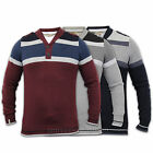 Mens Jumpers Dissident Knit Shawl Neck Top Striped Pullover Military Epaulette