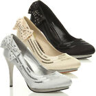 WOMENS LADIES WEDDING EVENING SANDALS BRIDAL HIGH HEEL PROM COURT SHOES SIZE