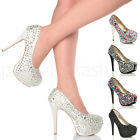 WOMENS LADIES HIGH HIGH PLATFORM WEDDING PROM BRIDAL COURT SHOES PUMPS SIZE