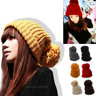 Fashion Unisex Chunky Cable Knit Winter Warm Woolly Bobble Beanie Ski Hat Cap