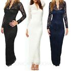Womens Full Length Long Sleeve Lace Maxi Dress Bodycon Prom V neck UK sz 6-14