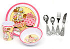Personalised Childrens 7pc Tea Party Cutlery and Melamine Dinner Set, Engraved