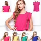 New Hot sale 1pc Women Chiffon Tulip Short Sleeve Casual Shirt Loose Blouse Tops