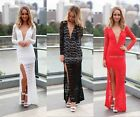 New Sexy Cocktail Vintage Womens Long Sleeve Lace Long Maxi Bodycon V neck dress