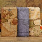 Luxury World Map PU Leather Wallet Case Flip Stand Cover For Apple iPhone 5 5S