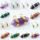 2 Holes/Strands Healing Chakra Gemstone Stone Hexagon Prism Bead Pendant Charms