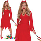 Ladies Classic Red Hot Devil Dress Halloween Hen Party Costume