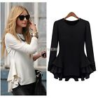 ladies Women Cotton  tunic Contrast Peplum Casual Long Blouse elegant tops