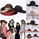 Women soft Floppy Wide Brim Cloche Fedora Beach Hat Goth Wool Bowknot Sun Caps