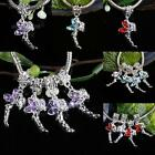 Wholesale Crystal Rhinestone Dangle Silver Angel Loose Beads Fit Charms Bracelet