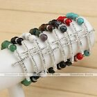 Silvery Cross Natural Gemstone Crystal Spacer Ball Beads Bracelet Jewelry Gift
