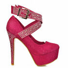 NEW Ladies Pink Silver Diamante Pump Ankle Strap High Heels Sexy Party Shoe Size