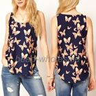 Women's Butterfly Print Tank Top Vest Chiffon Blouse T-Shirt Sleeveless Fashion