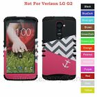 For LG G2 Pink Anchor Chevron Wave Design Hybrid Rugged Impact Armor Case Cover