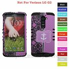 For LG G2 Purple Anchor & Floral Hard & Rubber Hybrid Rugged Impact Case Cover