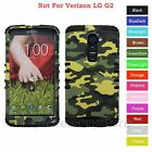 For LG G2 Green Camo Camouflage Hard & Rubber Hybrid Rugged Impact Case Cover