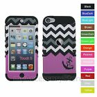 iPod Touch 5 5th GEN Pink Anchor Cheveron Hybrid Rugged Impact Armor Case Cover