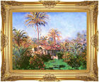 Framed Canvas Art Claude Monet Palm Trees at Bordighera Painting Reproduction
