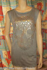NWT Fang DOLLED UP Charcoal RAW Burnout GOTH Foil SKULL Stars SLEEVELESS Top