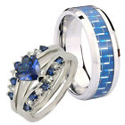 His Hers Silver Heart Blue Sapphire CZ & Men Tungsten Bevel Edges Ring Set