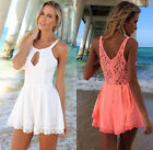 Sexy Lady's Lace Hollow Splicing Cutout Jumpsuit Rompers Playsuits Dress