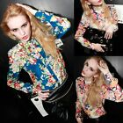 Women Vintage Chiffon Floral Print Lapel T Shirt Long Sleeve Casual Tops Blouse