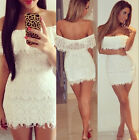 New Ladies Off Shoulder Cutout Back Full Lace Bodycon Cocktail Party Mini Dress