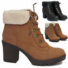 WOMENS LADIES FUR COLLAR CUFFED MID HEEL LACE UP AVIATOR ANKLE SHOE WINTER BOOTS