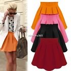 new Fashion Women Ladies Elastic Waist Pleated Flared Skater Mini Skirt S M L XL