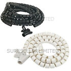 WHITE or BLACK SPIRAL CABLE WIRE TIDY BANDING LOOM WRAP KIT - TV PC VIDEO PHONE