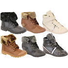 Ladies Boots Womens Shoes Military High Ankle Lace Up Buckle Fur Casual Winter