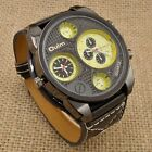 2013 Dual Time Zone Military Steel Case Leather Band Men Quartz Wrist Watch