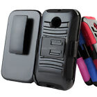 For Motorola Moto E Rugged Hybrid Case Cover Belt Clip Holster Kickstand